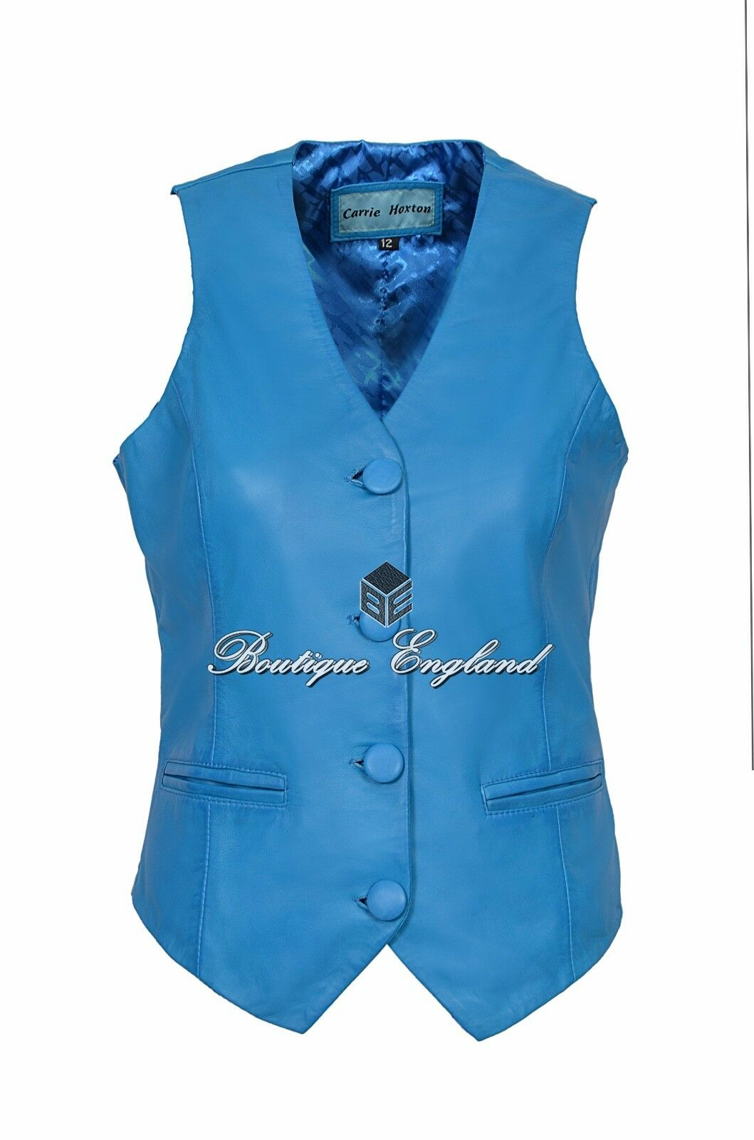 Ladies Waistcoat Leather blueE Casual Style Fashion Soft REAL LEATHER 5701