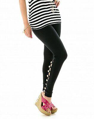 Baby Phat..BLACK leggings w//PATENT LEATHER PANELS /& SILVER eyelets NWT..C2C00003