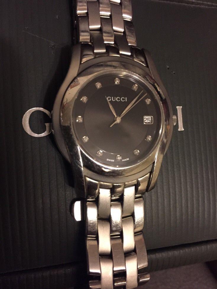 c6c059cc3ca Gucci 5500M Diamond Black Dial Stainless Steel Quartz Men s Watch for sale  online