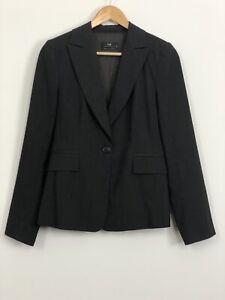 CUE-Womens-Dark-Grey-Lined-Collared-Single-Button-Workwear-Jacket-Blazer-Size-10