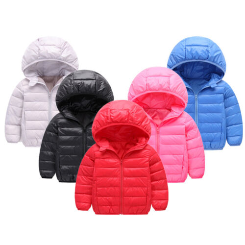 Toddler Baby Boys Girls Winter Down Outerwear Hooded Coat Kids Jacket Clothes