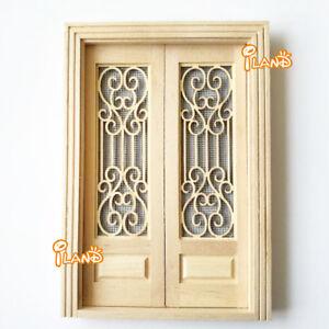1 12 Dollhouse Miniature Wood Double Screen Door Unfinished Oa011r