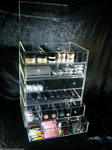 Image is loading Large-Acrylic-Makeup-Organizer-Drawers-Vanity-Stackable- Cosmetic-