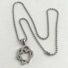 Stainless steel two hearts with rhinestones pendant and toilet chain Lot 156