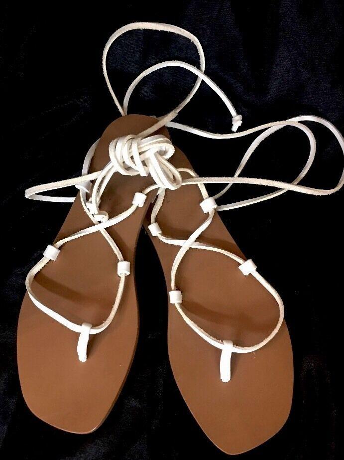 Thomas Maier Gladiator Sandals bianca Leather Wrap Around Straps Size 10 New