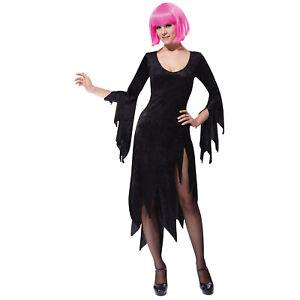 Womens-Black-Siren-Dress-Ladies-Vampire-Vampiress-Fancy-Dress-Costume-size-10-14