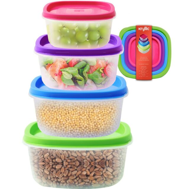 Plastic Food Storage Containers 4 Sizes Airtight Lids Nesting Stackable Bpa  Free