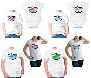 Baby Shark Doo Doo Kids T-shirts Daddy Mommy Grandpa Shark Family Matching White