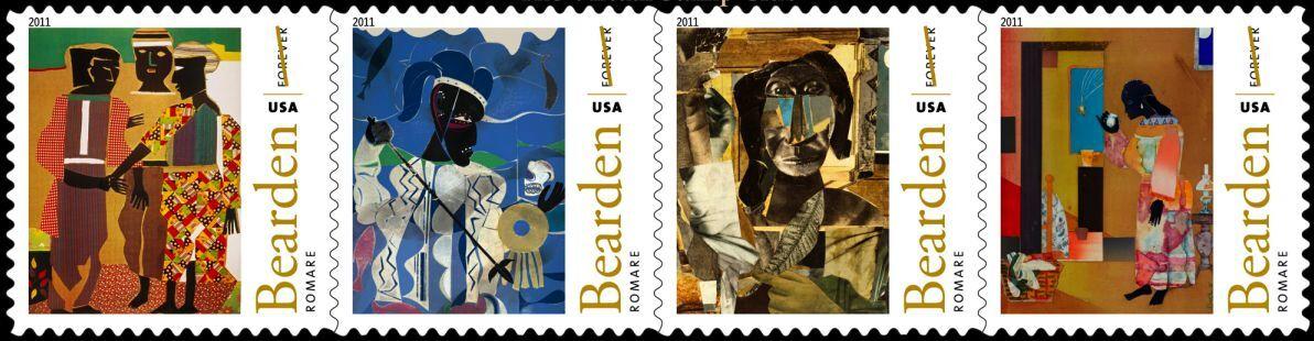 2011 44c Romare Bearden, Artist & Writer, Strip of 4 Sc