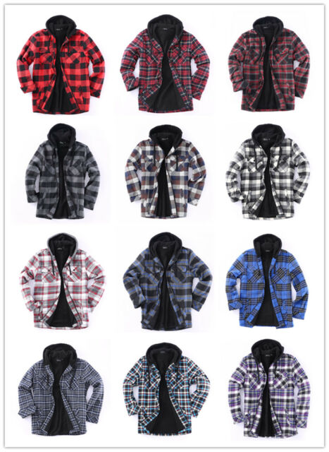 NEW Gioberti Big Boys Charcoal Plaid Sherpa Lining Hooded Flannel Jacket Size 6