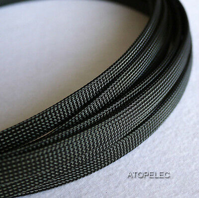 "10MM 13/32"" TIGHT Braided PET Expandable Sleeving 8M Black"