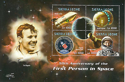 Sierra Leone 2011 MNH First Person Space 50th Anniv 4v Sheetlet Yuri Gagarin