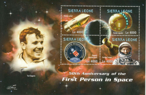 Sierra Leone 2011 MNH First Person Space 50th Anniv 4v Sheetlet Yuri Gagarin