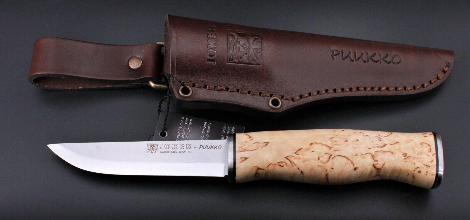 JOKER Puukko CL127 Maserbirke natur Lederscheide Messer Jagdmesser