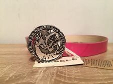 """Womens Belt Genuine Diesel Leather Pink Buckle 26"""" BNWT RRP £90"""