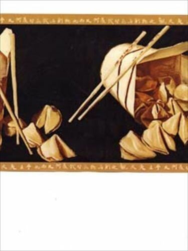 Chinese Kitchen Gold Wallpaper Border WF31153B Asian Oriental