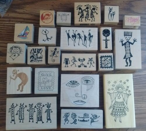 Lot #15 Wooden Rubber Embossing Craft Scrapbook Stamps