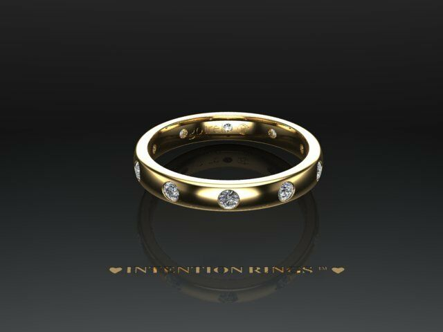 9ct Yellow gold Diamond Set Comfort Court Wedding Ring-Heavy Weight 3mm