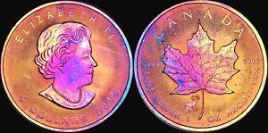 2015-CANADA-ELIZABETH-II-FIVE-DOLLARS-FINE-SILVER-Maple-leaf-Unique-Deep-Tone