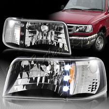 For 1993-1997 Ford Ranger Black Housing LED 1-Piece Head Lights+Amber Reflector