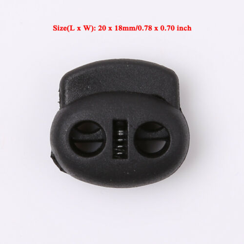 100 Cord Lock End Toggle Double Hole Spring Rope Stopper Sliding Fastener Clip