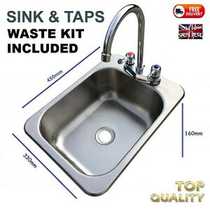 Tidy-Camper-Motorhome-Stainless-Complete-SINK-Waste-Plug-amp-Tap-IDEAL-SELF-BUILD
