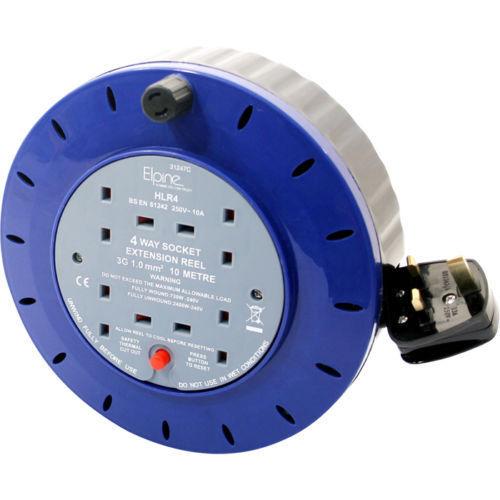 4WAY 5M//10M//25M câble extension reel plomb secteur socket heavy duty électrique