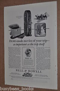 1928 Bell & Howell advertisement page for Filmo Movie Camera, model 75