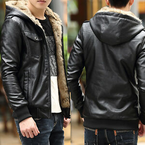 tNew Men's Coat Thicken warm fur lined Faux Leather Jacket Winter Hooded  Outwear | eBay