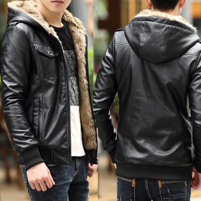 tNew Men's Coat Thicken warm fur lined Faux Leather Jacket Winter Hooded Outwear