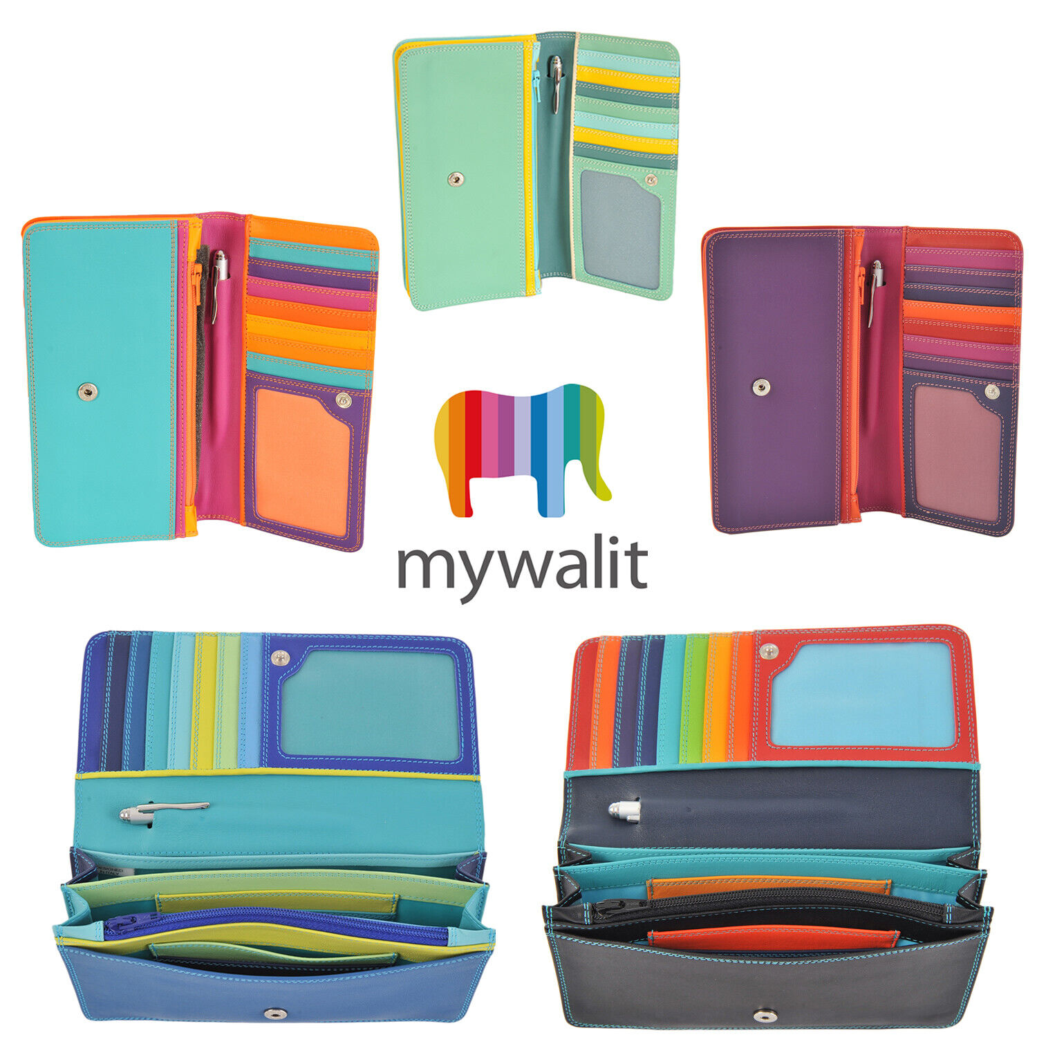 Mywalit Medium Leather Matinee 10 Card Purse Wallet With Pen Various Colours 237