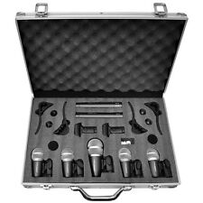 New Pyle Pro PDKM7 7 Piece Microphones Wired Drum Kit w/Mounting Accesories+Case