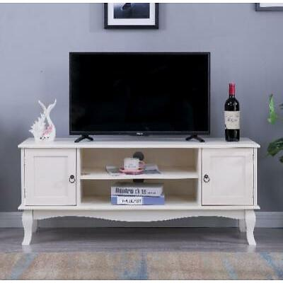 French Style Off White TV Stand Sideboard Living Room Furniture with Shelves
