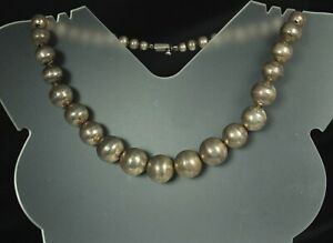 TAXCO-STERLING-PEARLS-Necklace-53-5g-BENCH-WORK-Ball-Beads-5-15mm-On-Wire-17-034