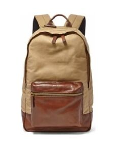 NEW-FOSSIL-ESTATE-KHAKI-CANVAS-BEIGE-BROWN-LEATHER-TOP-ZIP-BACKPACK-BAG