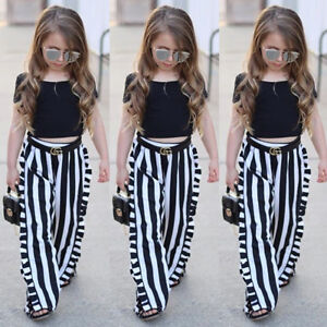 AU-Fashion-Kids-Baby-Girl-Backless-Tops-T-shirt-Stripe-Long-Pants-Outfit-Clothes