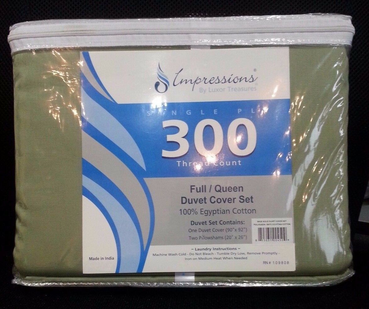 Impressions By Luxor Treasures 300 Thread Ct  Full Queen 3 Piece Duvet Cover NEW