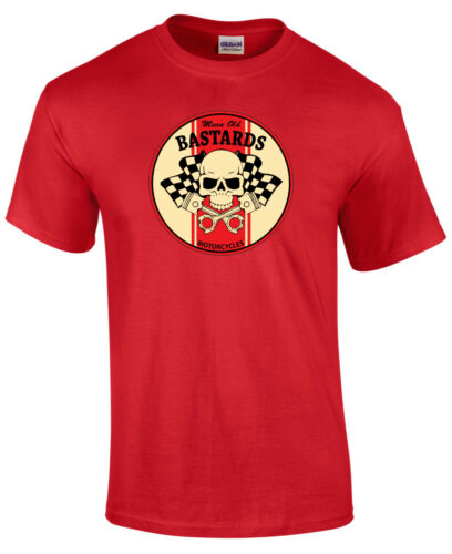 Biker Mean Old Bastards Round Style  Motorcycle Printed T Shirt in 6 Sizes