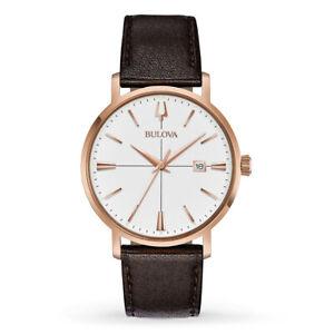 Bulova Men's Quartz Rose Gold Tone Case Brown Leather Band 39mm Watch 97B166