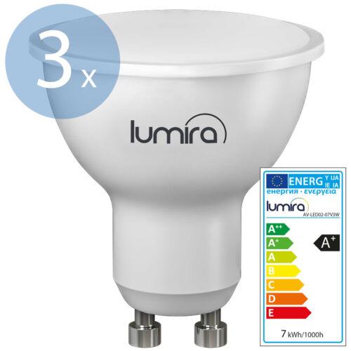 3x LUMIRA LED SMD Lampe GU10 7W 120° Spot Strahler Leuchte 560 Lumen Warmweiß