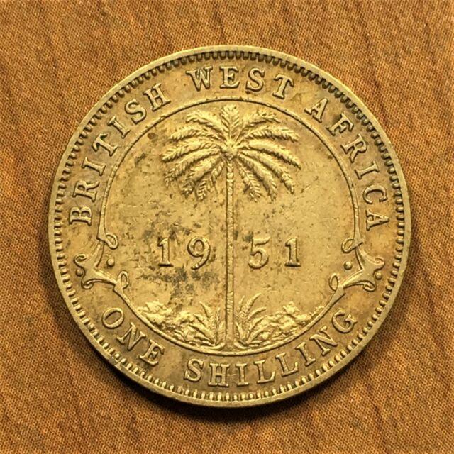 1951 British West Africa Shilling, King George VI, KM# 28, XF details