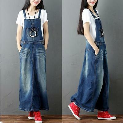 Ladies Retro Leisure Washed Blue Overalls Jean Skirt Loose Fit Maxi Denim Skirt