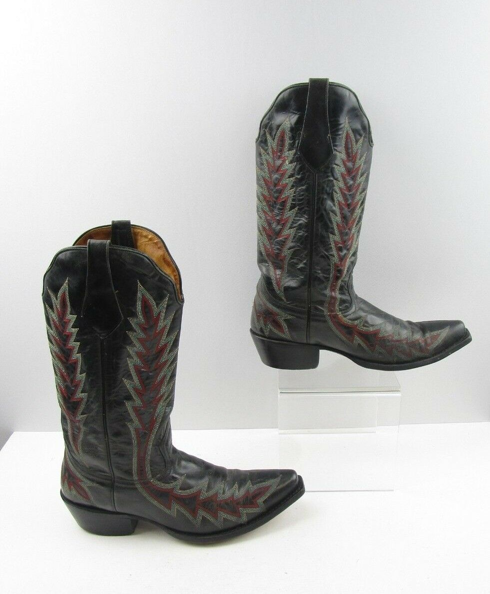 Ladies Johnny Ringo nero Embroiderosso Leather  Cowboy Western stivali Sz  9.5 B