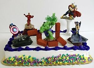 Image Is Loading Avengers 15 Birthday Cake Topper Captain America Iron