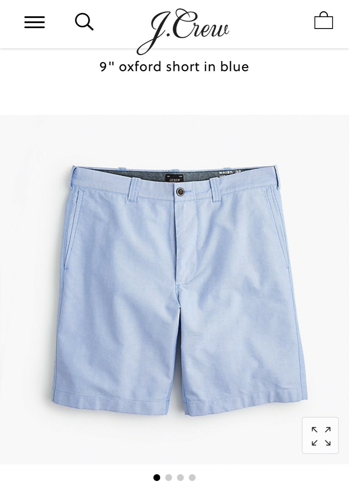 NWT J Crew 9  oxford short in bluee shorts size 35 brand new J0682