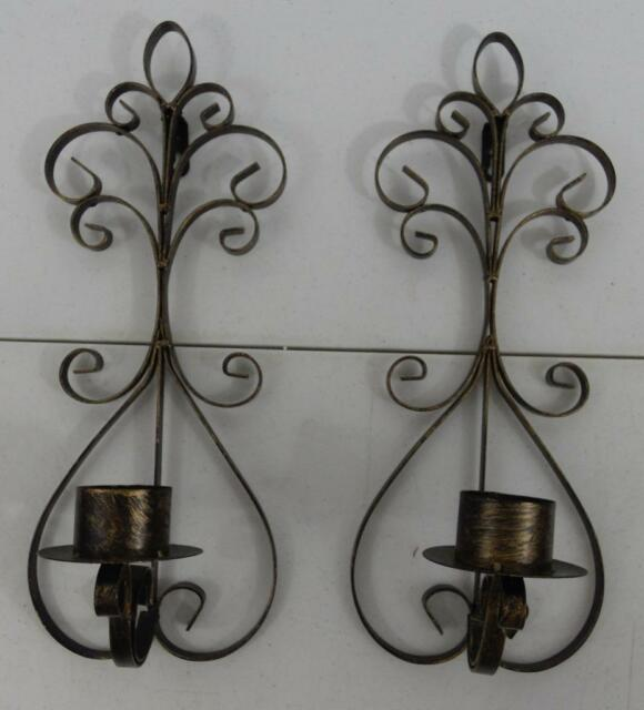 Pair Gothic Style Black And Gold Metal Wall Sconces Candle Holders