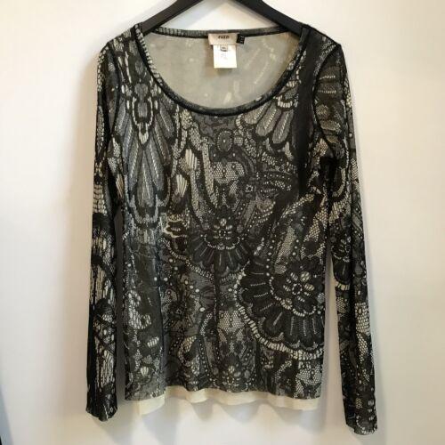 Fuzzi Jean Paul Gaultier Lace Print Sheer Top Long
