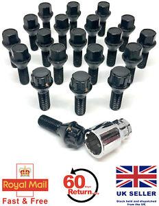 b12b 20 X Rueda de la aleación Pernos Tuercas Negro con pernos de bloqueo Bmw Serie 3 E90 26mm
