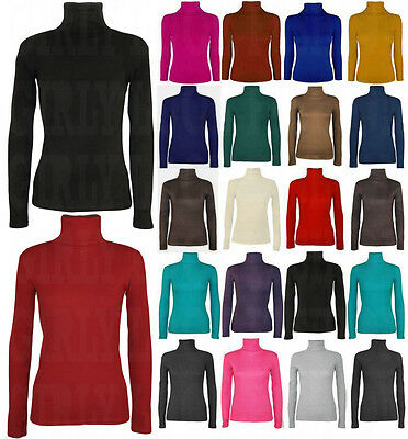 LADIES WOMENS PLAIN LONG SLEEVE TURTLE POLO NECK TOP ROLL NECK TOP JUMPER