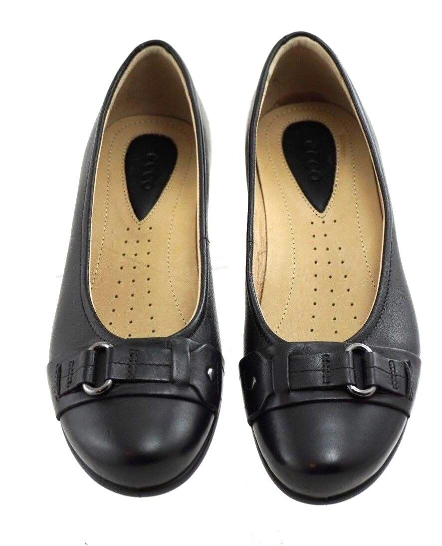 ECCO Black Leather Slip On Ballerina Pumps Shoe Womens Size US
